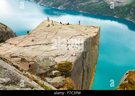 Preikestolen, Pulpit Rock, Lysefjorden, Norway - Stock Photo