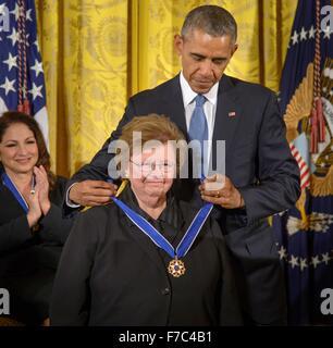 U.S. President Barack Obama presents Sen. Barbara Mikulski with the Presidential Medal of Freedom during a ceremony - Stock Photo