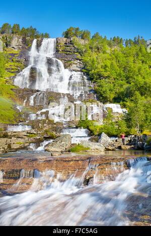 Tvindefossen waterfall, Hordaland, Norway - Stock Photo