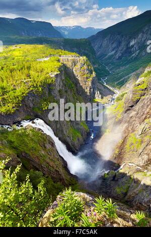 The Voringfossen waterfall, Hordaland, Norway - Stock Photo