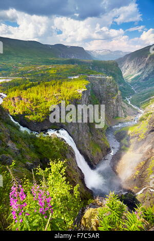The Voringfossen waterfall, Hordaland, Norway - Stock Photo