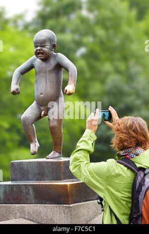 Little Angry Boy, Vigeland Sculpture Park, Vigelandsparken, Oslo, Norway - Stock Photo
