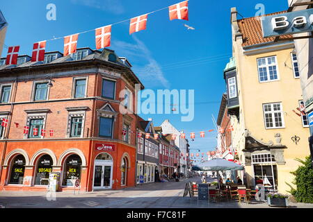 Old town in Helsingor city, Denmark - Stock Photo