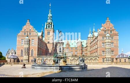 Neptune Fountain at Frederiksborg Palace, Hillerad, Denmark - Stock Photo