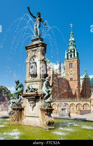 Neptune Fountain at Frederiksborg Castle, Denmark - Stock Photo