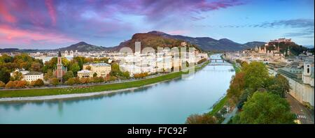 Panoramic aerial view of Salzburg city, Austria - Stock Photo