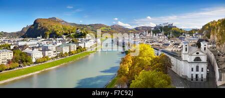 Panoramic aerial view of Salzburg city, Austria - Stock Photo