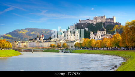 Panoramic view of Salzburg castle and Old Town, Austria - Stock Photo