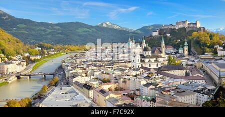 Austria - panoramic aerial view of Salzburg Old Town - Stock Photo