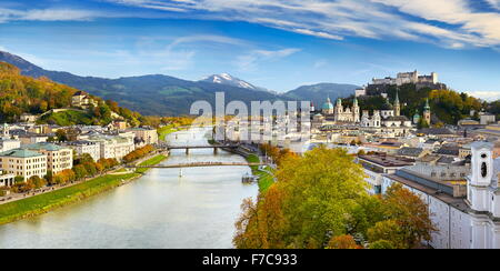 Austria - Panoramic view of Salzburg - Stock Photo