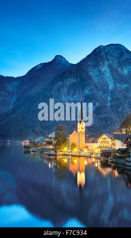 Hallstatt at evening time, Salzkammergut, Austrian Alps, Austria, UNESCO - Stock Photo