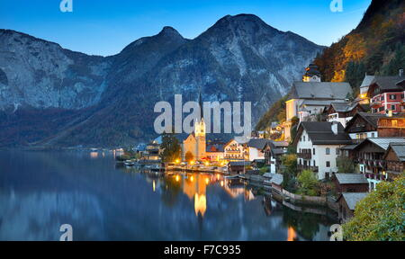 Austria - Hallstatt mountain village, Salzkammergut, Austrian Alps, UNESCO - Stock Photo