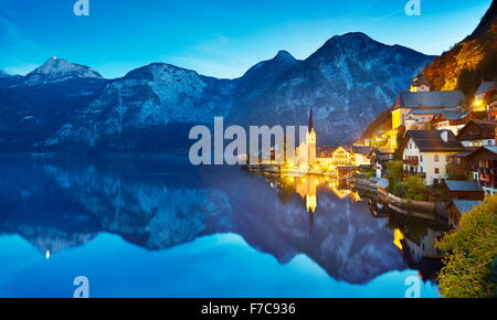 Hallstatt mountain village at evening, Salzkammergut, Austrian Alps, Austria, UNESCO - Stock Photo