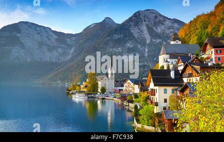 Hallstatt mountain village, Salzkammergut, Austrian Alps, Austria, UNESCO - Stock Photo
