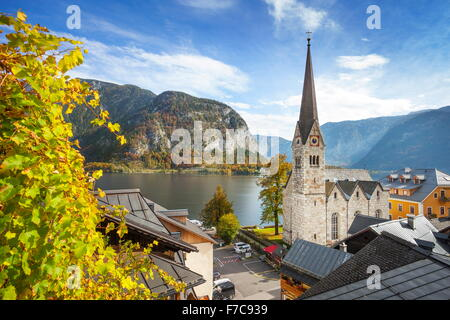 Hallstatt mountain village, Salzkammergut, Austrian Alps, Austria, UNESCO - Stock Photo