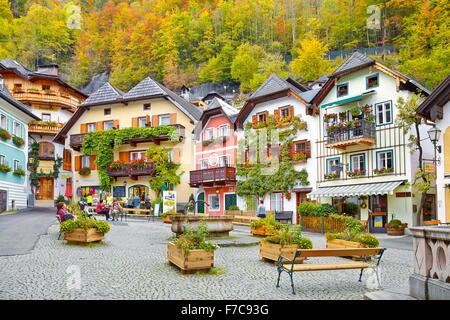Colorful houses, Hallstatt village, Salzkammergut, Austria