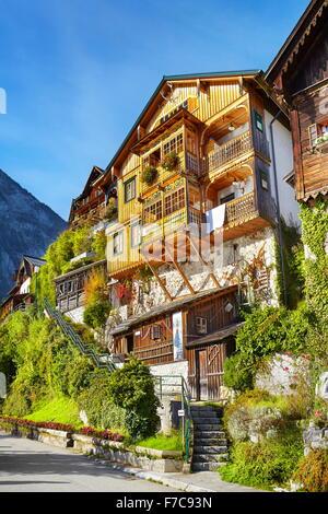 Hallstatt village - typical house, Salzkammergut, Upper Austria