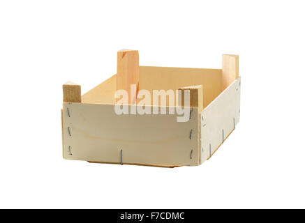 Empty wooden crate isolated on white - Stock Photo