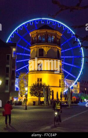 Düsseldorf, Schloßturm, castle tower and ferris wheel in the old town, - Stock Photo
