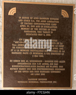 Memorial plaque at the former Dachau concentration camp near Munich, Germany. The site is now a memorial and a museum. - Stock Photo
