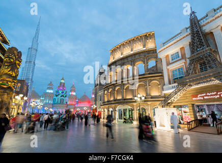 Evening view of international pavilions at Global Village 2015 in Dubai United Arab Emirates - Stock Photo