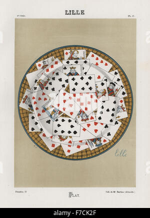 Plate decorated with playing cards from Lille. Hand-finished chromolithograph by Ris Paquot from his General History - Stock Photo