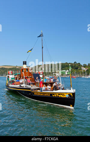 The preserved paddle steamer 'Kingswear Castle' approaching Dartmouth on the River Dart, Devon, England, UK - Stock Photo