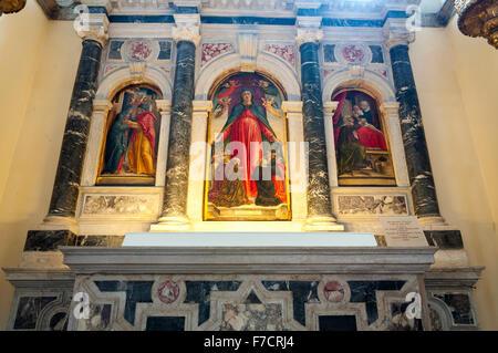 Chiesa di Santa Maria Formosa interior, art paintings by Bartolomeo Vivarini, Venice, Italy - Stock Photo