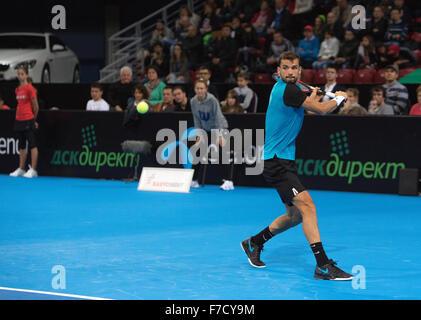 Sofia, Bulgaria - November 22, 2015: Sofia, Bulgaria - Grigor Dimitrov defeated Monfils in a demonstrative match - Stock Photo