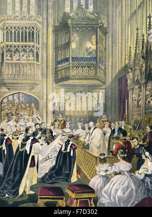 Wedding of Albert Edward VII, Prince of Wales, and Princess Alexandra of Denmark in St. George's Chapel, Windsor - Stock Photo