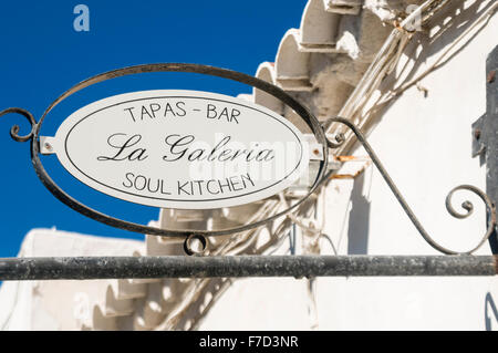 Sign outside a tapas bar in a Spanish town 'La Galeria' soul kitchen - Stock Photo