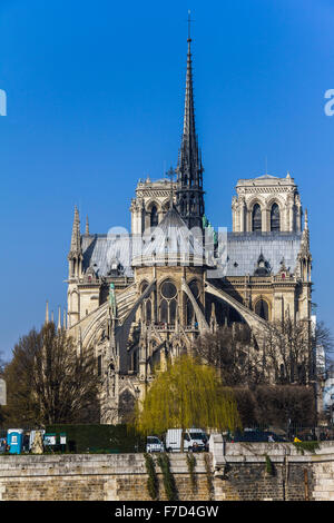 View on Notre Dame over river in Paris - Stock Photo