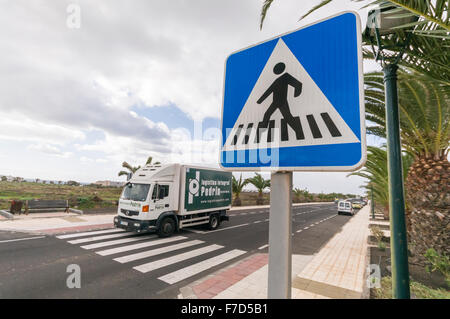 Sign for a zebra pedestrian crossing in a Spanish town - Stock Photo