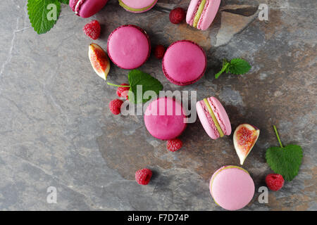 traditional french macaroons, top view - Stock Photo