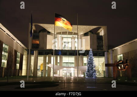 federal chancellery building in berlin at christmas time - Stock Photo