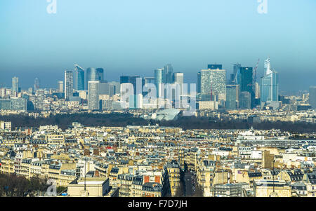 View on La Defense from Eiffel Tower in Paris - Stock Photo