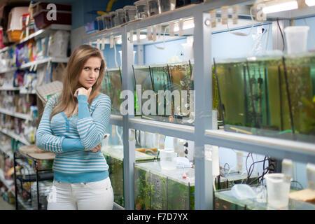 Aquarium Pet Shop Selling Goldfish In Plastic Bags In The