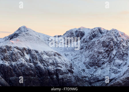 Stob Coire nan Lochan and the impressively shaped Bidean nam Bian massif in winter, Glen Coe, Scotland - Stock Photo