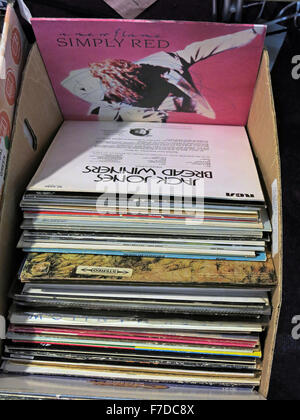 Box of old LP 12' Vinyl Records, local market England - Stock Photo