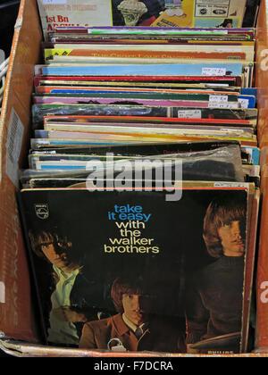 Box of old LP 12' Vinyl Records, local market England - Stock Photo