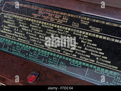 Valve radio vintage wireless station guide cities - Stock Photo