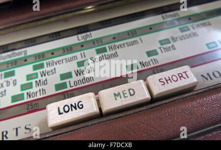 Antique Roberts Shortwave, Mediumwave, Longwave radio dial - Stock Photo