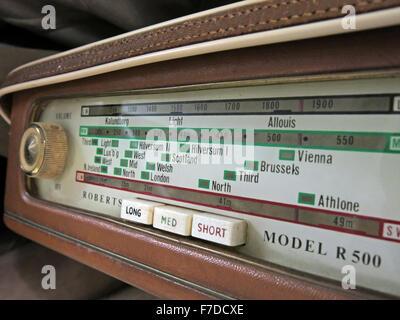 Antique Roberts Shortwave, Mediumwave, Longwave radio dial model R500 - Stock Photo