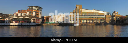 Pano of River Thames at Kingston-upon-Thames,West London,England,UK incl John Lewis - Stock Photo