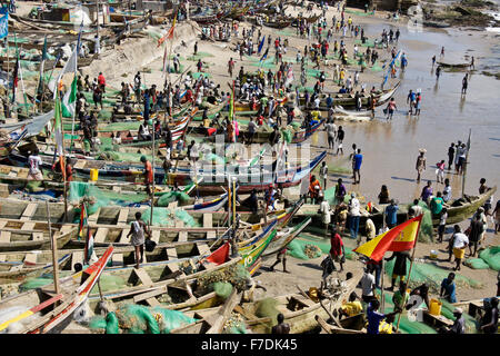 Fishing boats on beach, Cape Coast, Ghana - Stock Photo