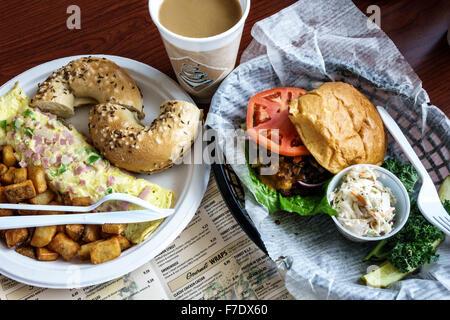 Port St. Lucie Florida Saint Tradition Bagel Brothers inside deli restaurant omelet burger sandwich food lunch - Stock Photo