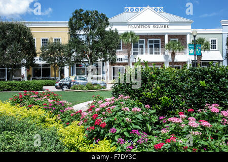 Port St. Lucie Florida Saint Tradition Square shopping small businesses green garden - Stock Photo