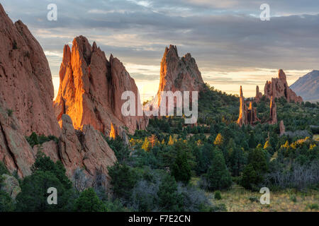 Sunrise on the red rocks formations of the Garden of the Gods in Colorado Springs, Colorado - Stock Photo