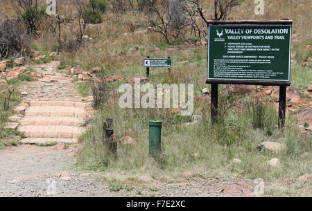 Footpath to the Valley of Desolation at Camdeboo National Park in South Africa - Stock Photo