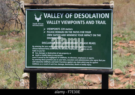 Valley of Desolation Sign at Camdeboo National Park in the Eastern Cape of South Africa - Stock Photo